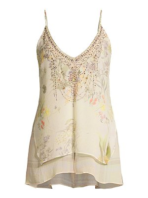 Camilla mother embellished multi-layer silk camisole