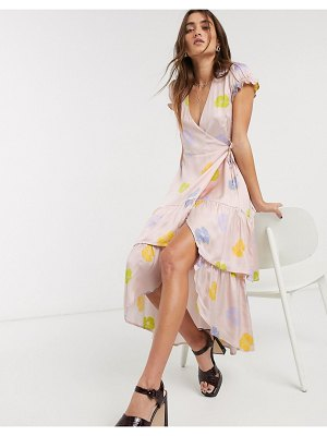 Capulet kai frloal ruffle midi dress in floating floral-pink