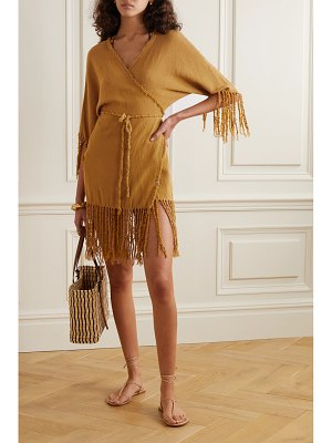 Caravana net sustain tsuuy fringed cotton-gauze dress