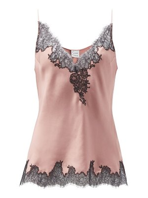 Carine Gilson v-neck lace-trimmed silk-satin camisole