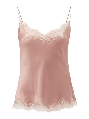 Carine Gilson lace-trimmed silk-charmeuse cami top