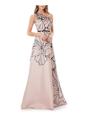 CARMEN MARC VALVO INFUSION Print One-Shoulder Mikado Gown