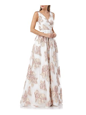 Carmen Marc Valvo Surplice Metallic Floral Embellished Sleeveless Organza Ball Gown