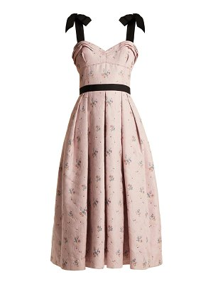 Carolina Herrera Floral Jacquard Pleated Midi Dress