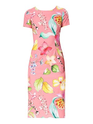 Carolina Herrera short sleeve floral sheath dress