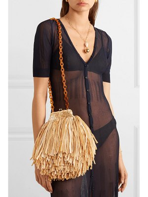 Carolina Santo Domingo mae fringed raffia shoulder bag