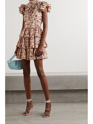 Caroline Constas kyra tiered ruffled floral-print cotton-poplin mini dress
