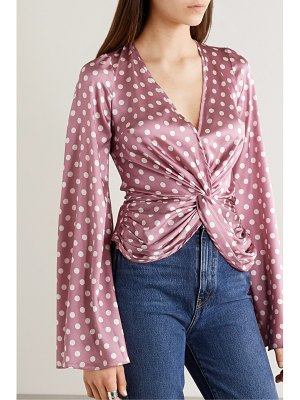 Caroline Constas romy twist-front polka-dot silk-blend satin top