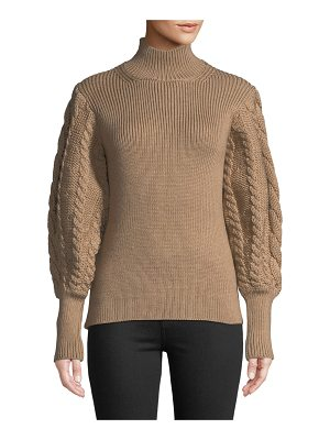 Caroline Constas Turtleneck Chunky Cable-Knit Sweater
