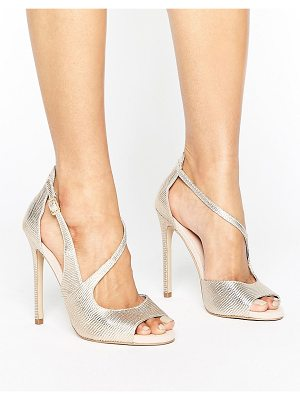 Carvela Kurt Geiger Geep Metallic Asymetric Strap Heeled Sandals