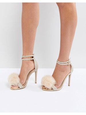 Carvela Kurt Geiger Glenn Gold Faux Fur Pom Heeled Sandals