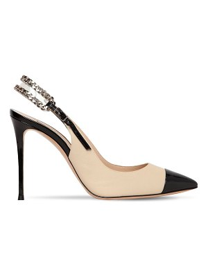 Casadei 100mm chained leather sling back pumps