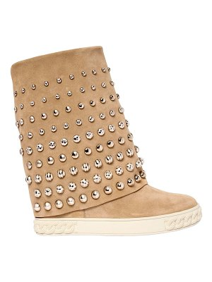 Casadei 100mm studded suede wedge boots