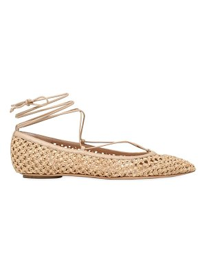 Casadei 10mm woven lace-up ballerina flats