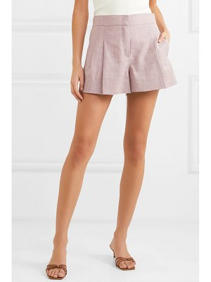 CASASOLA pleated wool, silk and linen-blend shorts