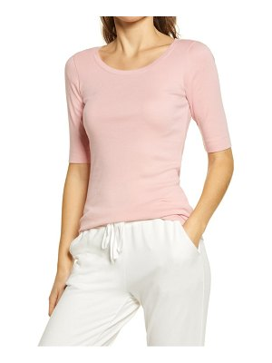 Caslon caslon ballet neck cotton & modal knit elbow sleeve tee