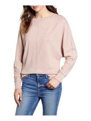 Caslon caslon bateau neck exposed seam cotton blend top
