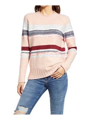Caslon caslon cozy mix stripe crewneck sweater