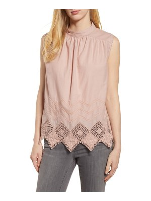 Caslon caslon embroidered hem top
