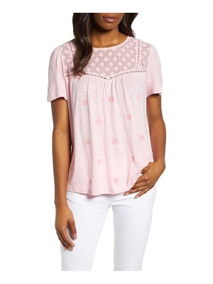Caslon caslon embroidered mesh yoke top