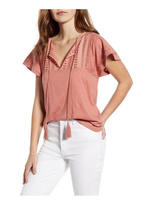 Caslon caslon embroidered eyelet knit top