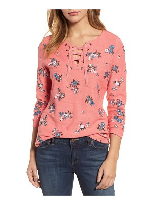 CASLON Caslon Lace-Up Neck Floral Embroidered Sweatshirt