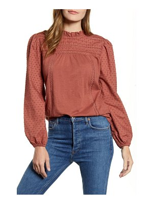 Caslon caslon pintuck lace detail long sleeve cotton blouse