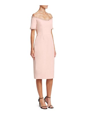 Catherine Regehr oriel off-the-shoulder embellished-trim sheath dress