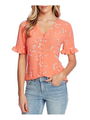 CeCe by Cynthia Steffe cascading floret ruffle sleeve crepe blouse