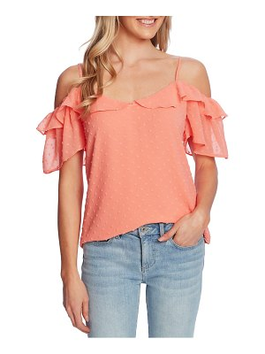 CeCe by Cynthia Steffe cold shoulder clip dot blouse