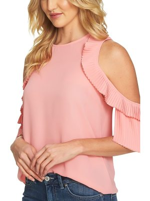 CECE BY CYNTHIA STEFFE Cold Shoulder Pleated Blouse