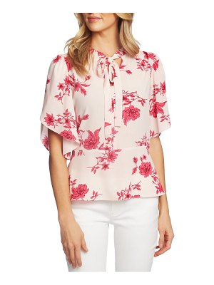 CeCe by Cynthia Steffe etched floral tie neck blouse