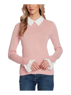 CeCe by Cynthia Steffe imitation pearl peter pan collar cotton sweater