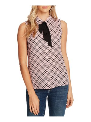 CeCe by Cynthia Steffe plaid pintuck tie neck sleeveless blouse