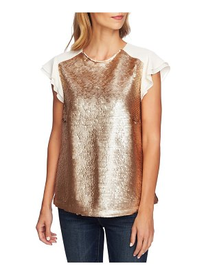 CeCe by Cynthia Steffe sequin flutter sleeve top