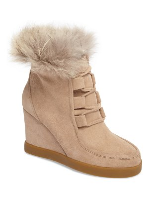 CECELIA NEW YORK holly wedge bootie with genuine fox fur trim