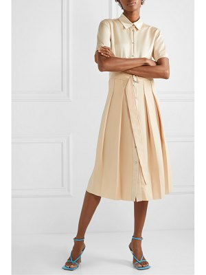 CÉDRIC CHARLIER belted pleated satin and crepe midi dress