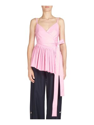 Cedric Charlier pleated cotton wrap front top