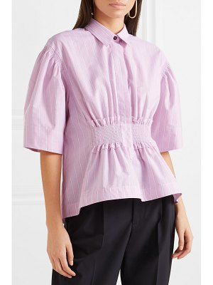 CÉDRIC CHARLIER shirred striped cotton-poplin shirt
