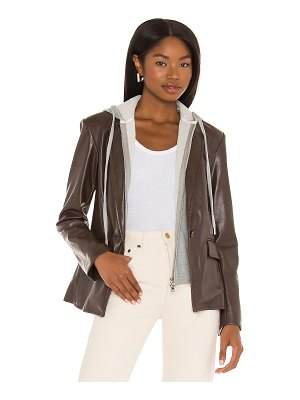 Central Park West coco faux leather dickie blazer
