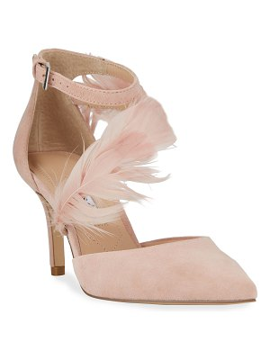 Charles David Attract Ankle-Strap Feather Pumps