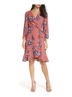 Charles Henry ruched sleeve wrap dress