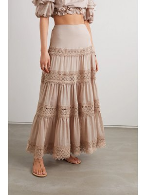 Charo Ruiz ruth crocheted lace-trimmed cotton-blend voile maxi skirt