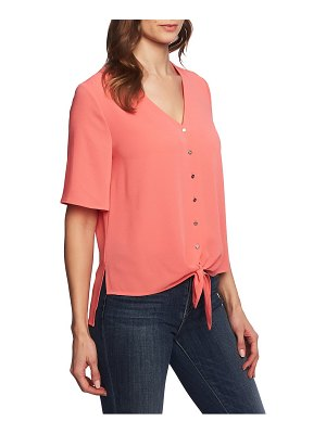 Chaus flutter sleeve tie front blouse