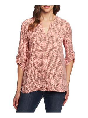 Chaus sundried tile print roll tab sleeve blouse