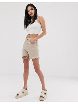 Cheap Monday donna denim mom shorts in off pink