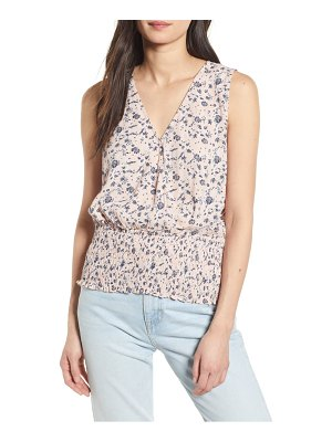 Chelsea28 floral smocked sleeveless top