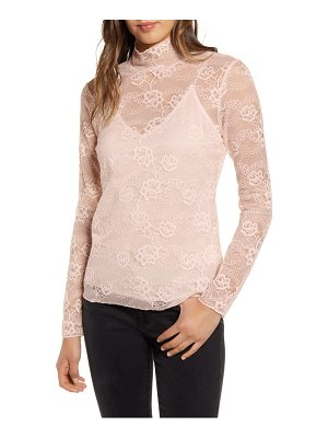 Chelsea28 sheer lace mock neck top