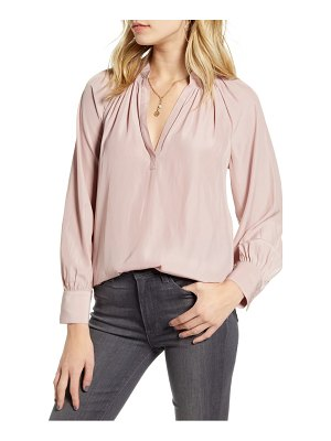 Chelsea28 shirred split neck blouse