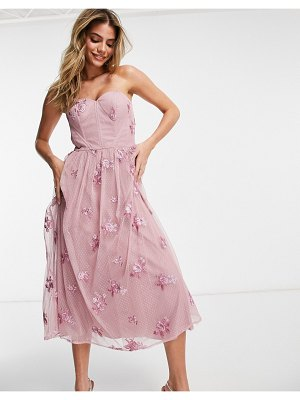 Chi Chi London 3d floral strapless prom dress in mink-pink